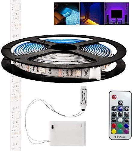 2 m RGB-LED-Lichtbänder, batteriebetriebene wasserdichte RGB-LED-Lichtbänder Flexible Seilleuchten, farbwechselnde Lichtbänder mit Batterie-Netzteil und 24-Tasten-Fernbedienung
