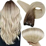 Full Shine 22 Inch Real Human Hair Weft Extensions Dark Brown Roots Color 3 Fading To 8 and 613 Blonde Straight Brazilian Hair Bundles 100 Gram Remy Hair Weave In Extensions