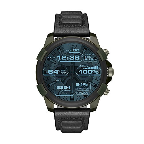 Diesel On Men's Full Guard Stainless Steel IP and Leather Smartwatch, Color:...