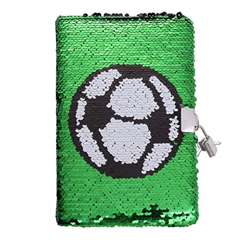 Toyandona - Cuaderno de lentejuelas con diseño de fútbol, de balón, agenda para notas, calendario, lista de comprobación con cerradura, diario, cuaderno de viajes, para colegio, oficina, color verde