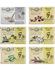 Set de jabón de aceite de oliva Afrodita. Set de 6 piezas con jabones naturales, elaborado sin sustancias químicas ni grasas animales (Salvia y Limón, Aroma de Jazmín, Aloe vera, Lavanda)
