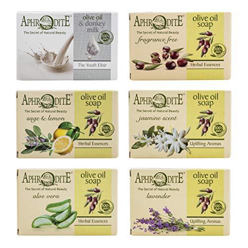 Aphrodite Olivenöl Seifen-Set. 6-teiliges Set mit natürlichen Seifen, hergestellt ohne chemische Substanzen oder tierische Fette (Sage & Lemon, Jasmine scent, Aloe vera, Lavender)