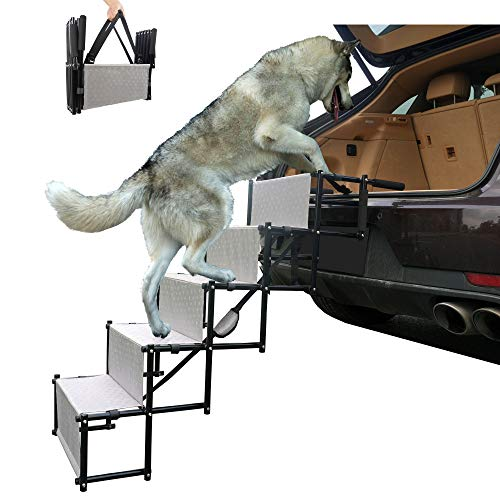 maxpama Premium Nonslip Dog Car Steps(5 Steps for SUV, Trucks,Couch and High Beds - Durable Metal Frame Support up to 150 Lbs - Lightweight Folding Pet Ladder Ramp for Indoor Outdoor Use …