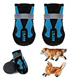 EARTH FRIENDLY 4 Pcs Dog Shoes for Hot Pavement Paw Protectors Waterproof Dog Boots with Adjustable Reflective Straps Rugged Summer Breathable Dog Rain Booties Anti-Slip Dog Snow Shoes