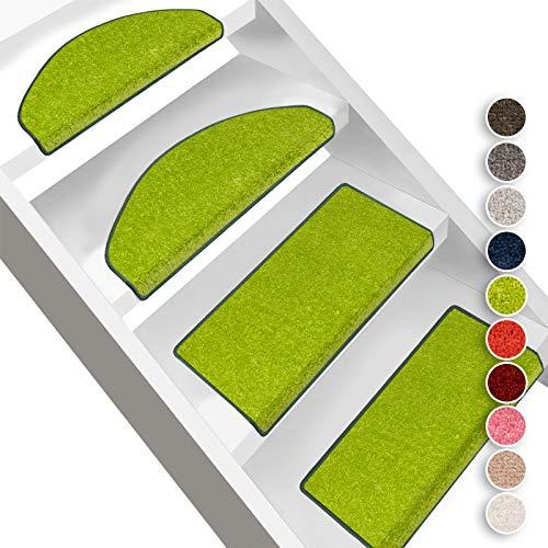 Floordirekt Stufenmatten Dynasty Velours   Halbrund oder Eckig   Treppenmatten in 10 Farben   Strapazierfähig & pflegeleicht   Stufenteppich für Innen (Grün, Halbrund 65 x 23,5 cm)