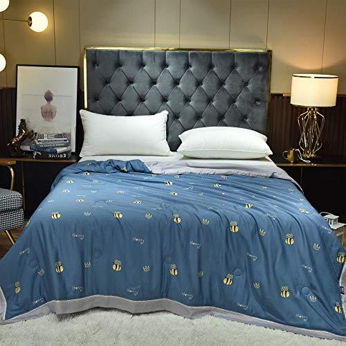CHOU DAN Bequeme Sommerbettdecke aus Baumwolle,Der doppelseitige Tianshi-Sommer ist dreiteiliger Sommer cool-150 * 200 cm Sommer * 1_1.