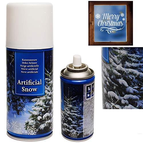 alles-meine.de GmbH 4 Stück _ große Dosen - Schneespray / Kunstschnee Sprühdosen - für Tannenbaum + Fenster + Spiegel + Glas - 150 ml - Schnee Schneebilder - ideal Schablonen Vor..