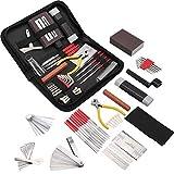 Kit de herramientas de guitarra de 45 piezas de reparación de herramientas de mantenimiento para guitarra de bajo guitarra eléctrica y guitarra acústica
