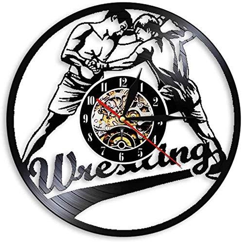 Wwbqcl Reloj de Pared con Registro de Vinilo Deportivo de Combate con gramófono de Lucha para Hombres, Reloj de Pared con iluminación de Estilo de Combate, Reloj de Pared artístico