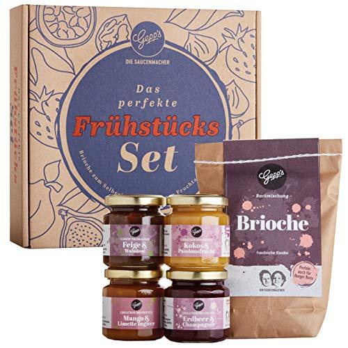 Gepp\'s Feinkost Französisches Frückstücks-Set I Gourmet Brunch Geschenkset aus Fruchtaufstrichen und edlen Konfitüren, dazu fluffiges Brioche I Geschenkidee für Frauen (202031)