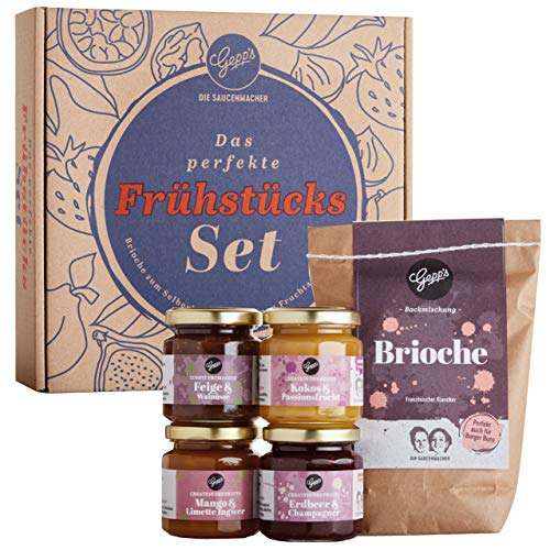 Gepp's Feinkost Französisches Frückstücks-Set I Gourmet Geschenkset aus Fruchtaufstrichen und edlen Konfitüren, passend dazu eine Backmischung für fluffiges Brioche I Tolles Gastgeschenk (202031)
