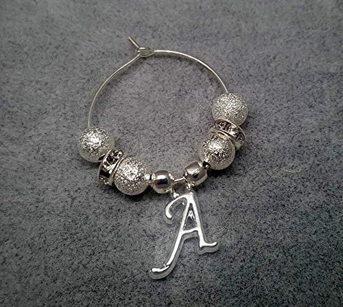 Personalised Silver Stardust Initial Letter Wine Gin Prosecco Glass Charms Wedding Hen Party