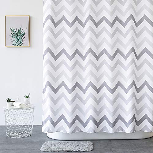 "Aimjerry Chevron Fabric Shower Curtain Grey,White,Striped Mold Resistant 72"" x 72"",Geometric"