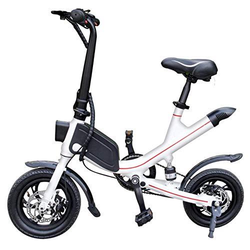 WJH9 Disc Folding Elektro-Bike, 12-Zoll-36V E- Bike mit 8Ah Lithium-Batterie Höchstgeschwindigkeit 25 km/h, tragbares einfach zu lagern Caravan, Wohnmobil,Weiß