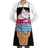 JESSA Funny Ice Cream Sleeping Cat Delantales Bib Art String Ajustable Delantales de Camarero de Cocina para Adultos con Bolsillos