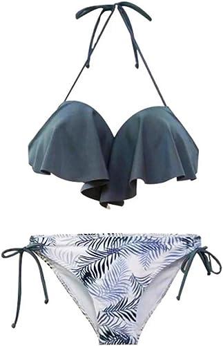 Maillot de Bain bikiniPlaque en Acier Sexy Petite Poitrine réunie divisée Bikini Source Thermale féminine en Trois pièces