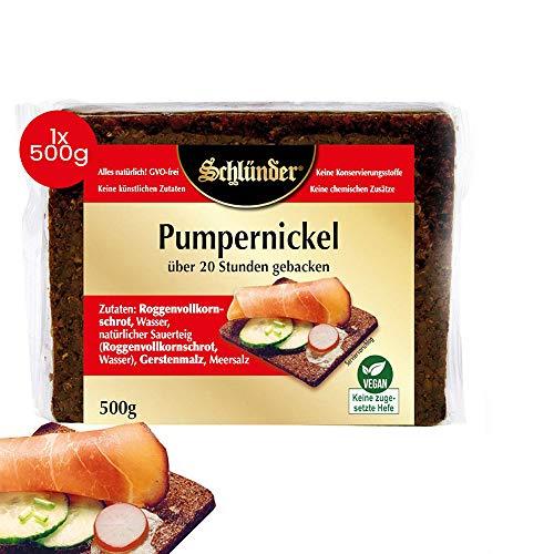 Schlünder Pumpernickel - Schwarzbrot aus Roggenvollkornschrot, über 20 Stunden gebacken, 100% natürlich & vegan, Dauerbrot, reich an Ballaststoffen, Bäcker-Brot made in Germany, 500g