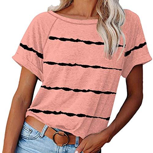 NAQUSHA Las señoras de verano tops para las mujeres de moda casual color sólido manga corta cuello redondo básico sueltos camisetas Blusas