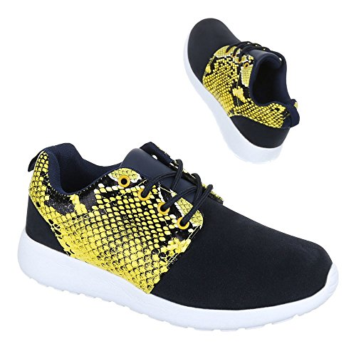 Ital Design Damen Schuhe, 256-3-, Freizeitschuhe, Sneakers Turnschuhe, Synthetik in hochwertiger Wildlederoptik und Lederoptik, Schwarz Gelb, Gr 40