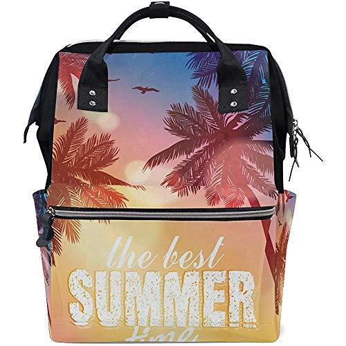 Daypack Summer Beach Theme Diaper Backpack Grande Capacité 28X18X40Cm Sacs pour Bébé Multi-Function Zipper Casual Travel Backpacks Mom Dad Unisex