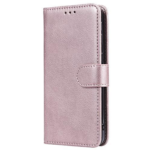 WIWJ Hülle für Samsung Galaxy A40 Tasche Flip Rosegold - Rein Farbe Ledertasche Wallet Case mit Kartenhalter Abnehmbar Magnet Backcover Detachable Schutzhülle für Galaxy A40 Handyhülle