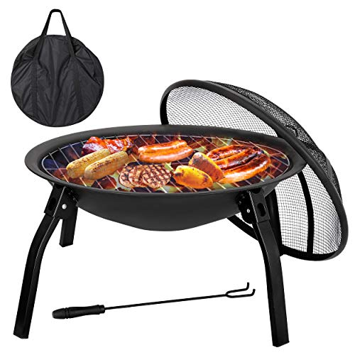 F2C 22 inch Folding Fire Pit Wood Burning Fireplace BBQ Grill Steel Round Bowl w/Mesh Spark Screen Cover Lid, Log Grate, Poker for Patio Backyard Garden Camping Traveling Picnic Bonfire