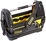 STANLEY 600 Denier Open Mouth Tote Tool Bag, Heavy Duty Steel Handle, Multi-Pocket Storage for Tools and Saw, 1-93-951