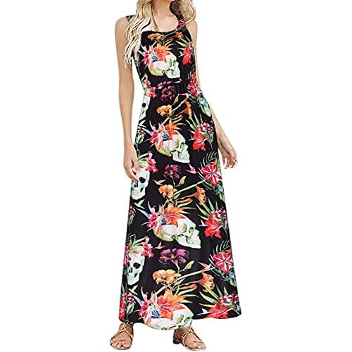 Vestido de mujer para Halloween, elegante, sin mangas, largo envolvente, para fiestas, bailes, tiempo libre, naranja, XL