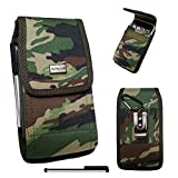 BLU Pure XL (6'' screen) 2015 released {AIScell} Camouflage Army CAMO Pouch Premium Vinyl Leather Carrying Holster Belt Clip Loop Case+Carabiner Hook+4'' Stylus Pen