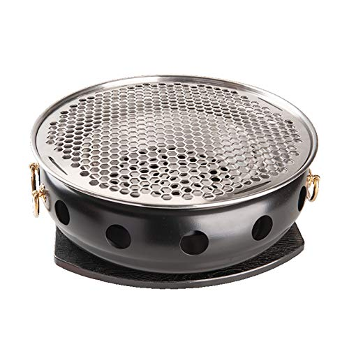 Guoguocy Charcoal Barbecues Barbecue Grill, BBQ, Japanese Style Charcoal Smokeless Grill, Black Lacquer Charcoal Stove + Stainless Steel Solar Disk, Indoor Outdoor (Colora : C)