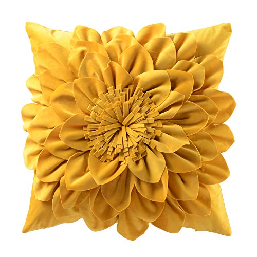 OiseauVoler 3D Flower Throw Pillow Cases Decorative Cushion Covers Soft Velvet Pillowcases Home Sofa Car Bed Room Decor 18 x 18 Inch