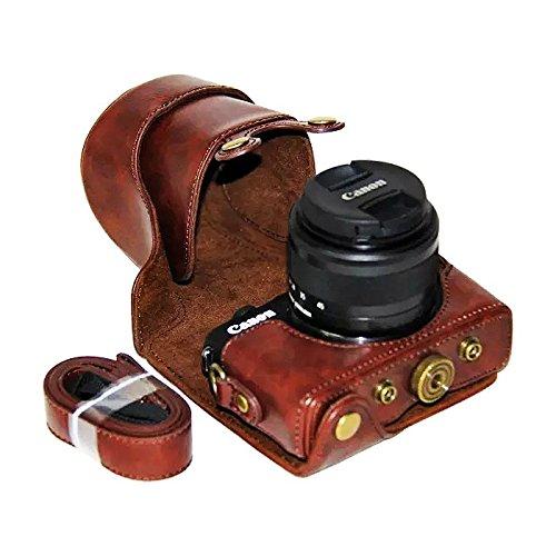 First2savvv XJPT-EOSM10-10 Funda Cámara cuero de la PU cámara digital bolsa caso cubierta con correa para Canon EOS-M10 con lente 15-45mm marron oscuro