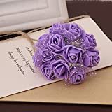 Lanyin 144 unidades por paquete mini espuma artificial ramo de flores de rosas para decoración de boda suministros de manualidades
