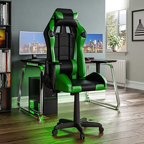 Vida Designs Racing Nitro-Silla de Ordenador para Juegos, Color Verde y Negro, reclinable Giratorio Ajustable de Oficina, 131 x 67 x 75 Cm