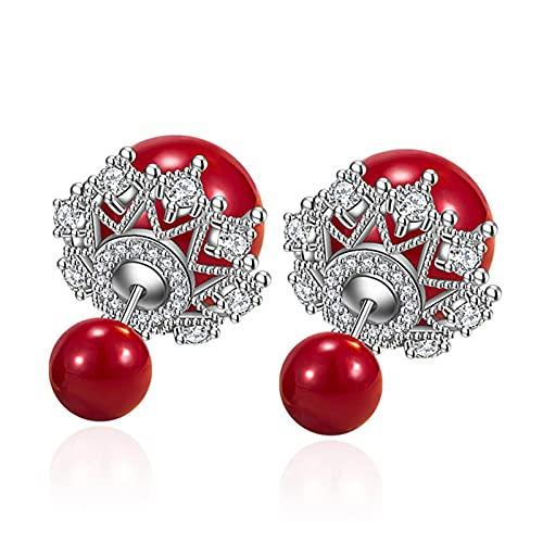 Gioielli della ragazza S925 Orecchino d'argento dell'orecchino dell argento del regalo di natale della palla rossa Orecchino dell'orlo di pizzo della palla aperta per le donne Regalo di nozze Lady di