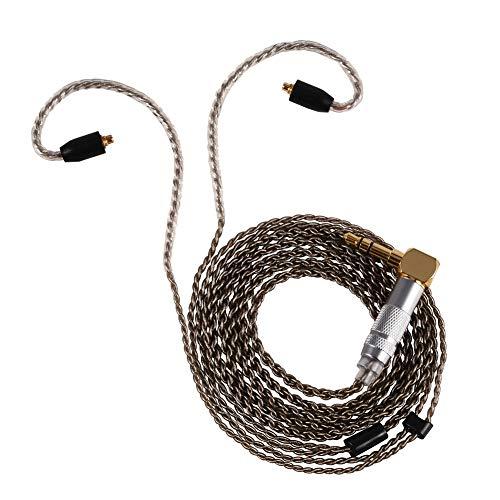 Aukson Auriculares de 3,5 mm Cable para Auriculares, Cable para Auriculares Cables de Audio estéreo auxiliares Conector MMCX de Cobre Puro para Auriculares Shure SE215 SE535 SE846(Curva Negra)
