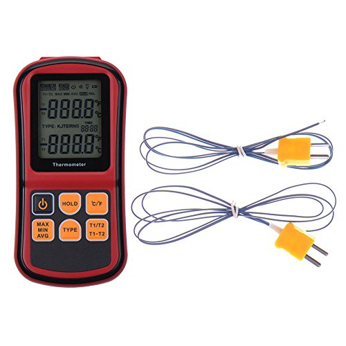 RGBS digitales Zweikanal-Thermometer mit zwei Thermoelementen vom Typ K und LCD-Hintergrundbeleuchtung für p Thermoelement K/J/T/E/R/S/N, für Industrie, Landwirtschaft, Meteorologie, Alltag etc.