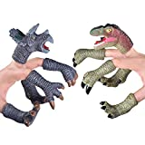 FUN LITTLE TOYS 10PCs Dinosaur Finger Puppets, Tiny Hand Animal Figure Bath Toys, Boys Girls Treasure Box Prizes, Pinata Fillers Goodie Bag Fillers for Kids Birthday Party Supplies Favors Decorations
