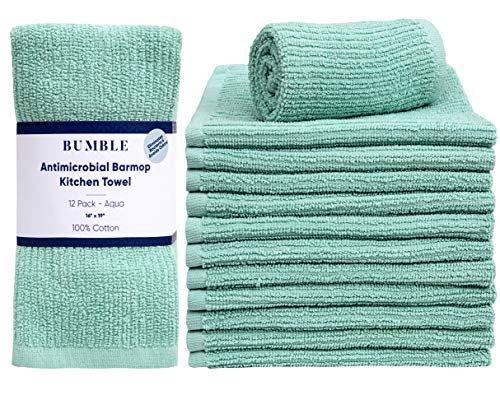 """Bumble 12-Pack Antimicrobial Barmop Kitchen Towels / 16"""" x 19"""" Premium Kitchen Towels/Super Absorbent Heavy Weight Cotton/Ribbed Weave (SPA)"""