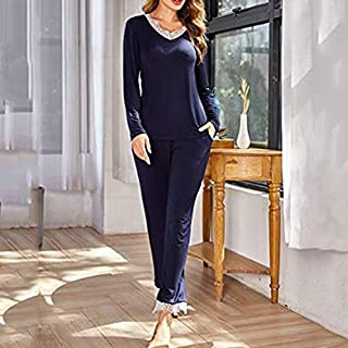 Pijamas para Mujer Ropa de Dormir Pijamas sólidas de Mujer Pijamas Mujer de algodón otoño Pijama Mujer hogar Ropa de Encaje Pijama fijado en casa Pijamas de Verano (Cor : Blue, Tamanho : L Size)