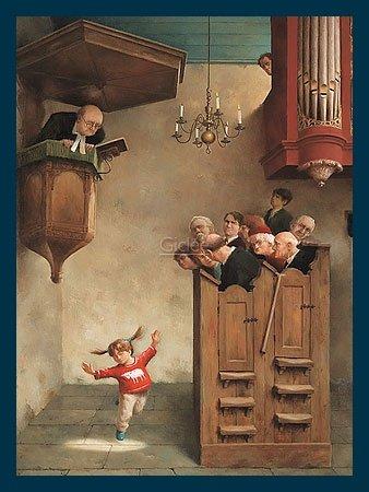 Bild mit Rahmen Marius van Dokkum - Dancing in the Church - Holz blau, 30 x 40cm - Premiumqualität - , Karikatur, Menschen, Kirche, Pastor, Kanzel, Gläubige, Gemeinde, Kind, tanzendes Kind, f.. - MADE IN GERMANY - ART-GALERIE-SHOPde