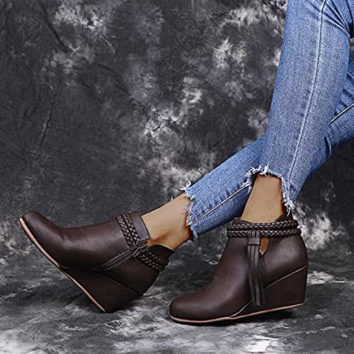 Rrunsv Damen Stiefeletten Chelsea Boots Damen Premium Waterproof Schnürstiefel Stiefel Damenstiefel Climbing Shoes Comfort Women's Ankle Boots with Treaded Sole Block Heel Boots Lace-Up Ankle Boots