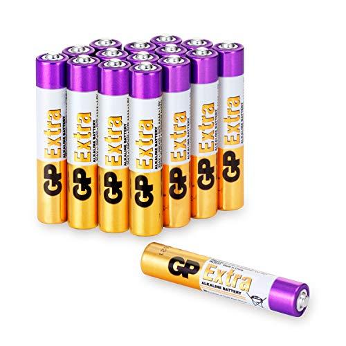 GP Extra Alkaline Batterien AAAA (Typ Mini / LR61) Spannung 1,5V, ideal für die Stromversorgung von Geräten des täglichen Bedarfs (Pack mit 16 Stück)