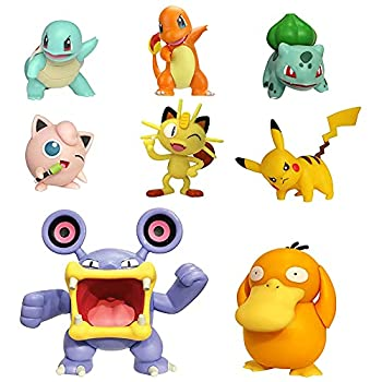 """Pokemon Battle Figure 8-Pack - Comes with 2"""" Pikachu 2"""" Bulbasaur 2"""" Squirtle 2"""" Charmander 2"""" Meowth 2  Jigglypuff 3"""" Loudred and 3"""" Psyduck"""