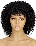 ELIM Short Black Afro Wigs for Black Women Kinky Curly Hair Wig Natural Fashion Synthetic Full Wig for African American Women for Daily Party with Wig Cap Z202BK