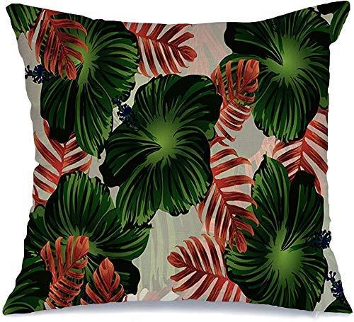 Funda de Cojine Throw CojínHawaiano Turquesa Tropical Patrón Verde Azul Follaje Exótico Verano Palma Dibujo Arte Vintage Fundas para almohada 45X45CM