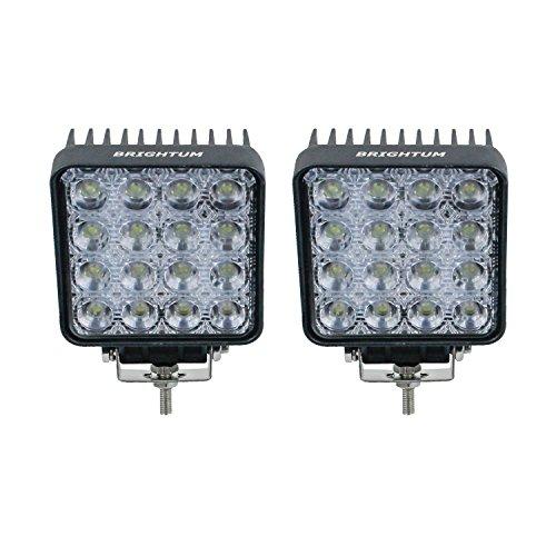 """BRIGHTUM 4.3"""" 48W LED Offroad Arbeitsscheinwerfer weiß 12V 24V 4560 Lumen Flutlicht Reflektor worklight Scheinwerfer Arbeitslicht SUV UTV ATV Arbeitslampe Traktor Bagger"""