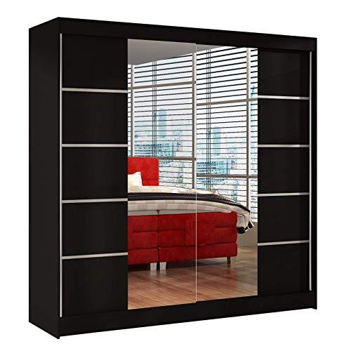 Schwebetürenschrank Basti V 200 cm mit Spiegel - Kleiderschrank mit 2 Türen, Kleiderstange und Einlegeboden, Schlafzimmerschrank, Schiebetürenschrank 200x215x58 cm (Schwarz)