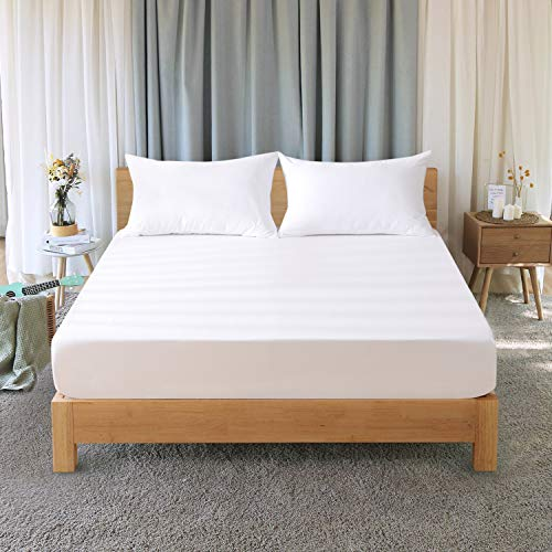 RUIKASI - Sábana Bajera Ajustable de Microfibra para Todas Las Estaciones, Cama matrimonial, 160 x 200 x 30 cm, Blanco