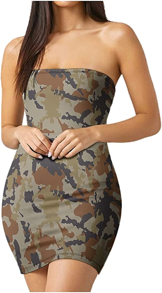 mozhiben Camouflage Women's Tube Top Dress Strapless Stretchy Vocation Dress Summer